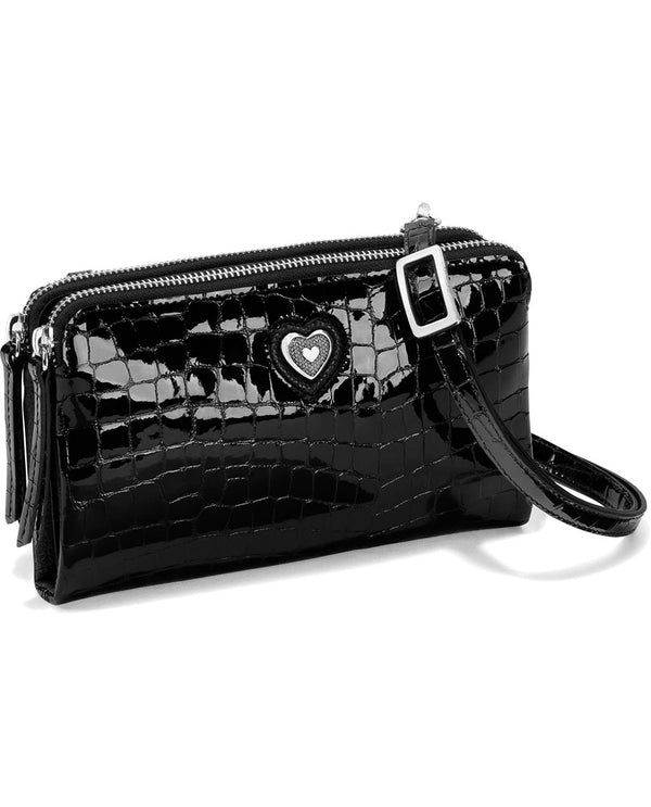 Brighton T43833 Bellissimo Heart Downtown Organizer Black with shiny croco design and Balinese heart and detachable strap