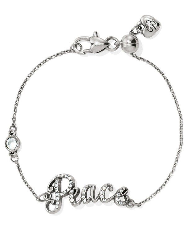 Silver Brighton JF4901 Peace Script Bracelet with peace written in Swarovski script