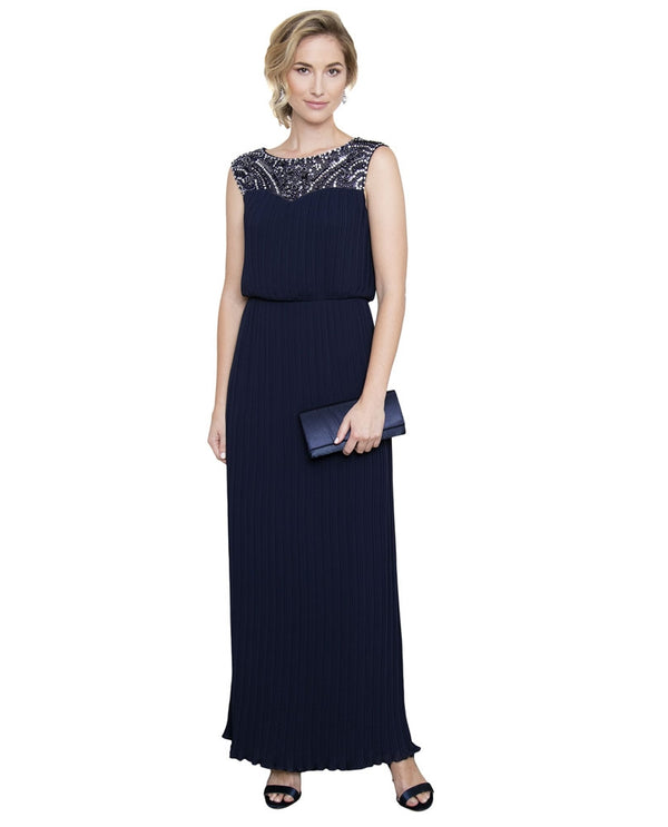 Navy Alex Evenings 170925 Pleated Bead Neck Dress long mother of the bride dress with beads