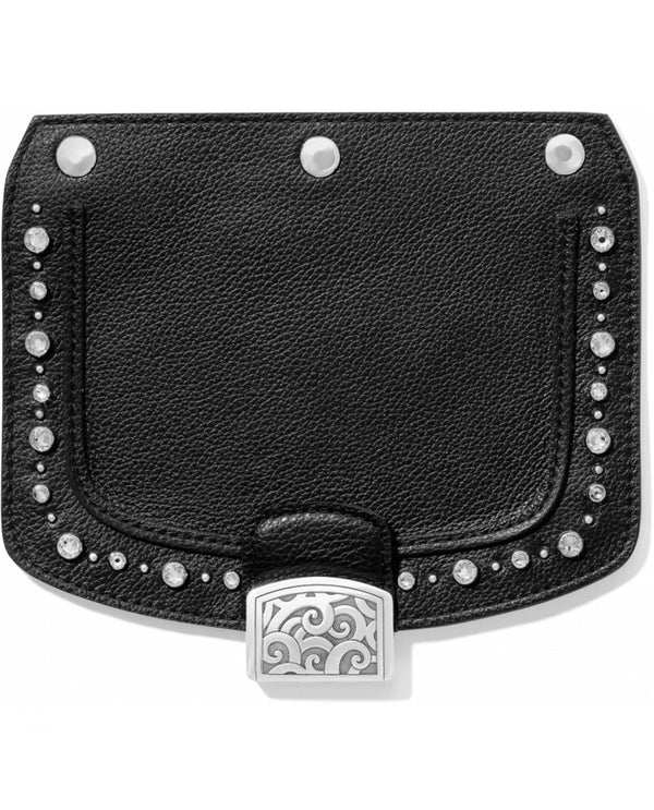 Brighton H81043 Pretty Glam Snappy Flap in black with studs and rhinestones around the outer edge and snaps to any Snappy bag