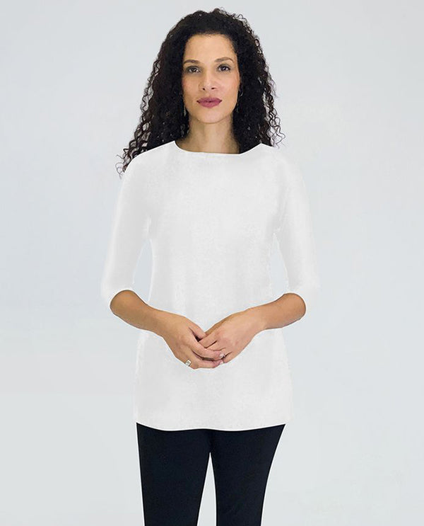 Sympli 23113-2 Nu Ideal Tunic 3/4 Sleeves (Trunk Show) White Front
