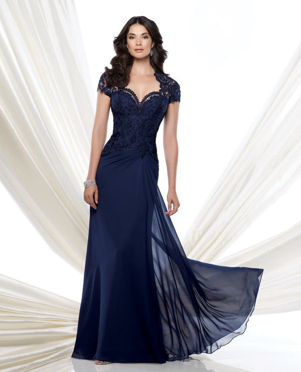 Montage 115974 Lace Cap Sleeve navy mother of the bride gown with Queen Anne neckline