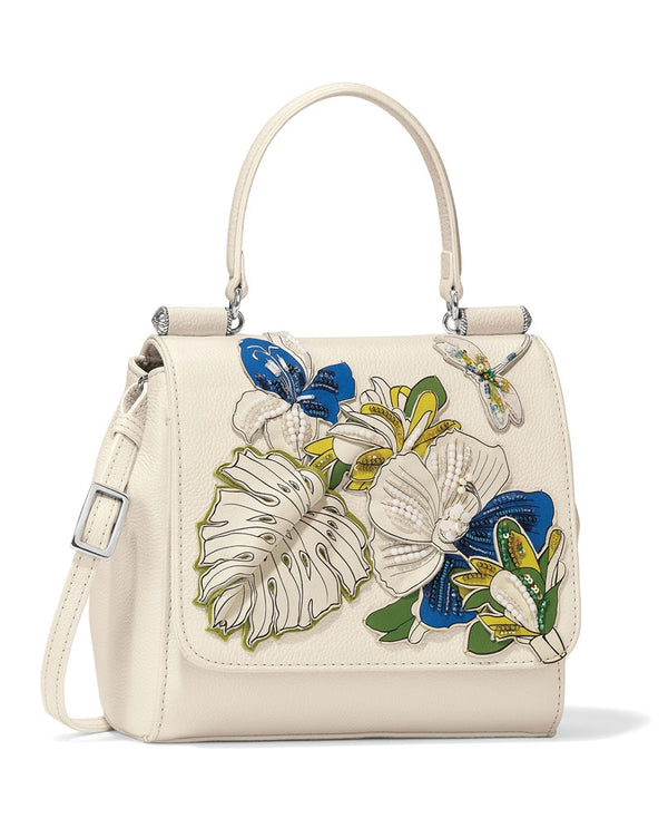 White multi Brighton H36172 Dayla Top Handle Cross Body with a dragonfly and leather flowers