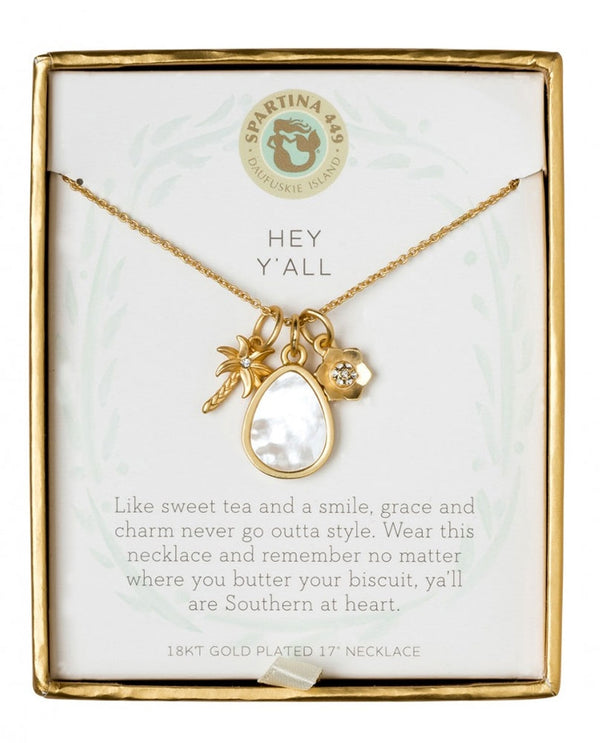 Spartina 449 950935 Hey Y'all Palmetto Necklace in Gift Box