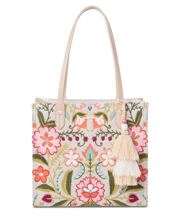 Spartina 449 960705 Cordelia Box Tote with floral embroidery and tassel