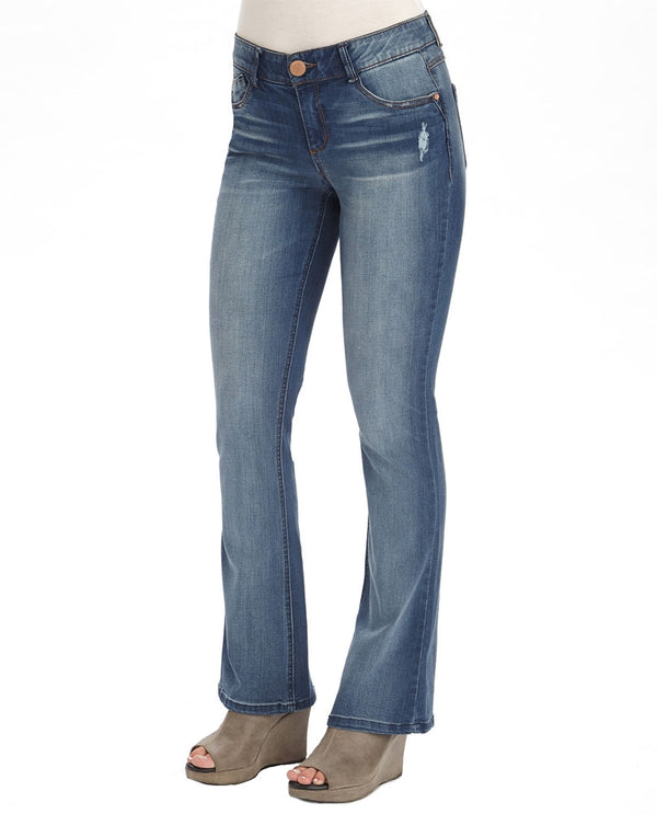 Democracy B12211RDH Ab Solution Itty Bitty Boot Jean with light wash and distressing