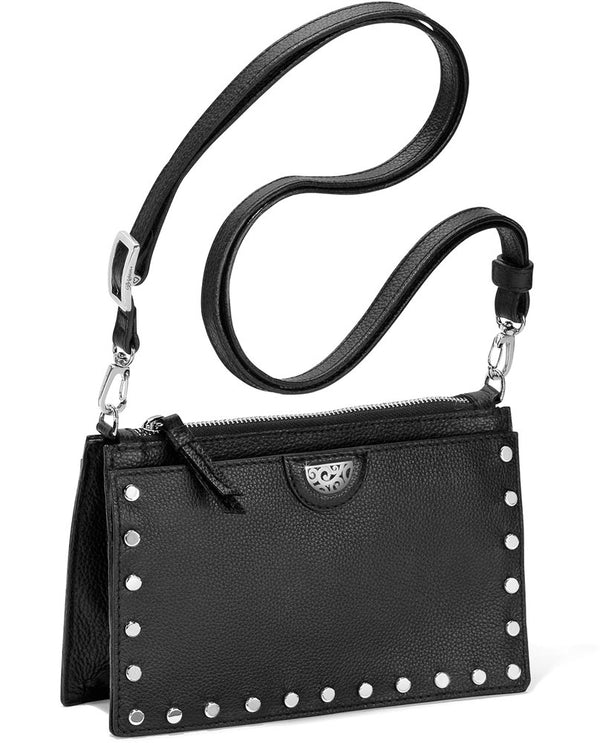 Brighton H15083 Rox Cross Body in black features studs around the top for an urban edge and detachable strap for versatility