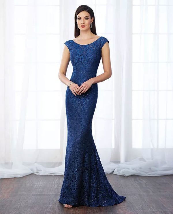 Cameron Blake 217644 Lace Sequin Gown royal blue mermaid silhouette mother of the bride gown