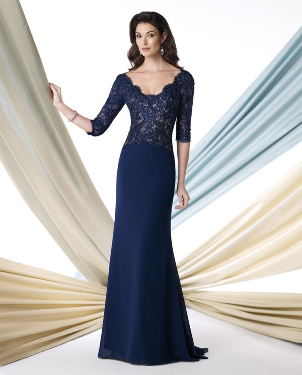 Montage 213978 Lace Top Gown navy 3/4 sleeve lace and sequin mother of the bride gown