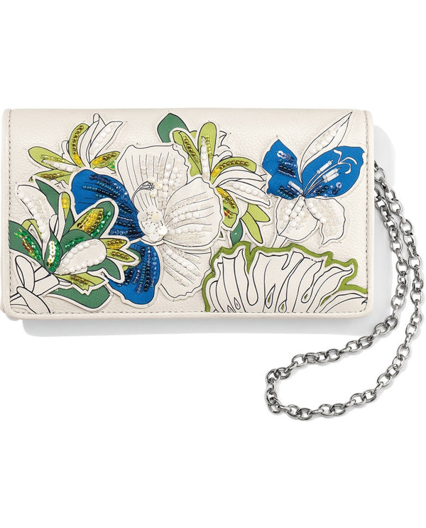 White multi Brighton T34932 Crystal Pond Clutch Wallet with darling garden scene and chain