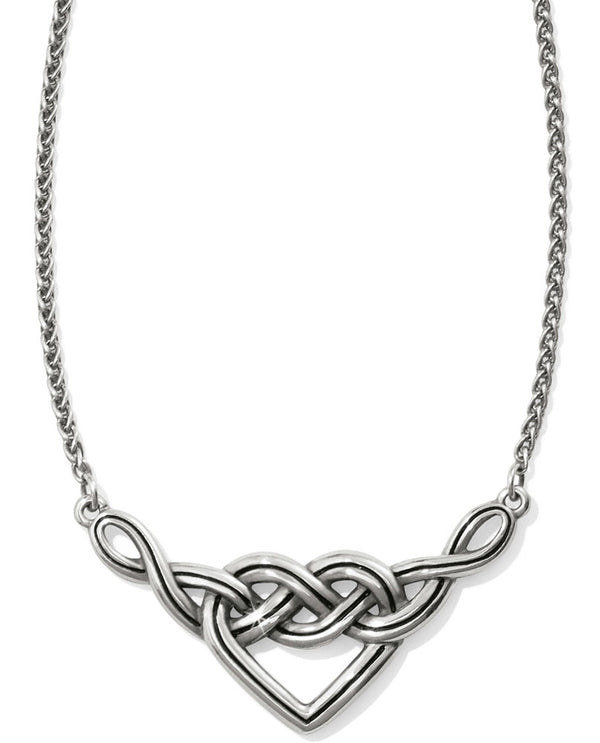 Silver simple Brighton JL8480 Interlok V Heart Necklace has a Celtic knot symbolizing eternal love