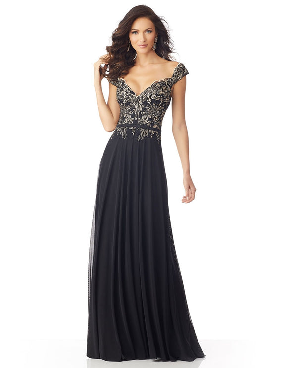 Mori Lee / MGNY 71802 Stretch Mesh V Neck Dress Black/gold v-neck mother of the bride gown
