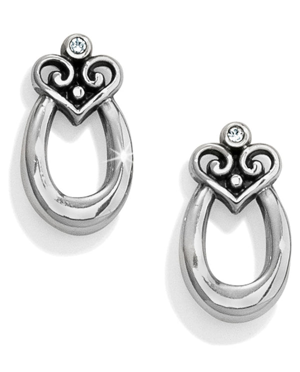 Silver Brighton JA3990 Alcazar Orbit Post Earrings with oval hoop topped with alcazar heart