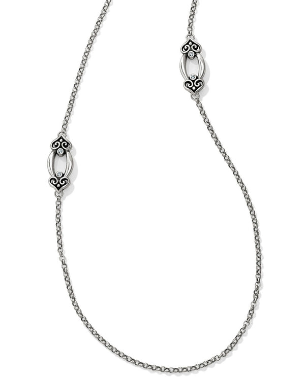 Long Alcazar Orbit Necklace Brighton Style JL8470 long silver layering necklace with Swarovski