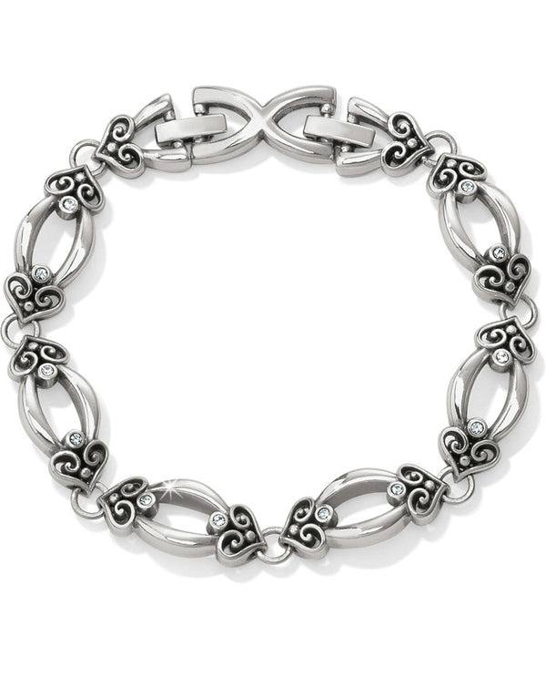 Silver Brighton Alcazar Orbit Soft Bracelet JF5120 with alcazar hearts and Swarovski crystals