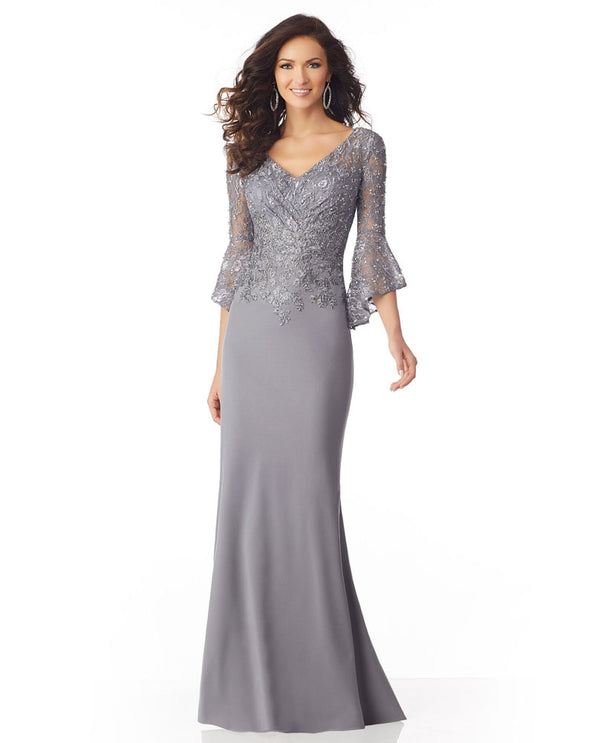 Mori Lee / MGNY 71810 Bell Sleeve Dress silver 3/4 bell sleeve mother of the bride dress