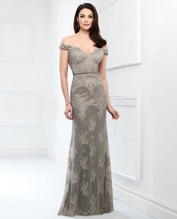 Montage 218917 Off Shoulder Lace Dress gray mother of the bride gown with natural waistline