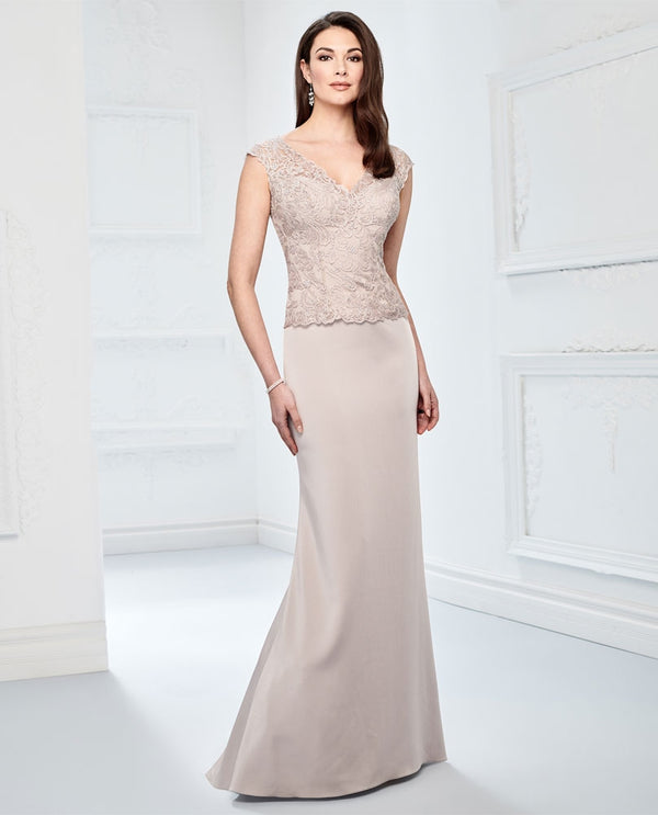 Montage 218915 Beaded Lace Bodice Dress oyster nude mother of the bride gown with cap sleeves