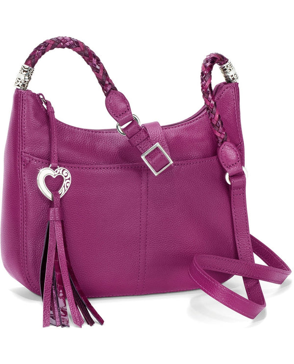 Brighton Style H4292G Baby Barbados Crossbody Hobo bag with braided leather straps with heart tassle zipper and silver detail