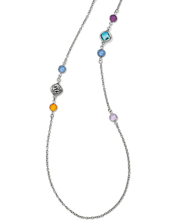 Multi Brighton JL8593 Elora Gems Long Necklace colorful Swarovski crystals on long silver chain