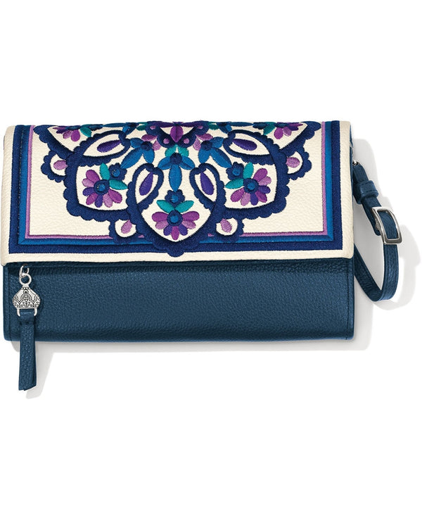 Brighton T4384M Casablanca Jewel Embroidered Flap Organizer Multi design inspired by tapestries in Morocco and detachable strap