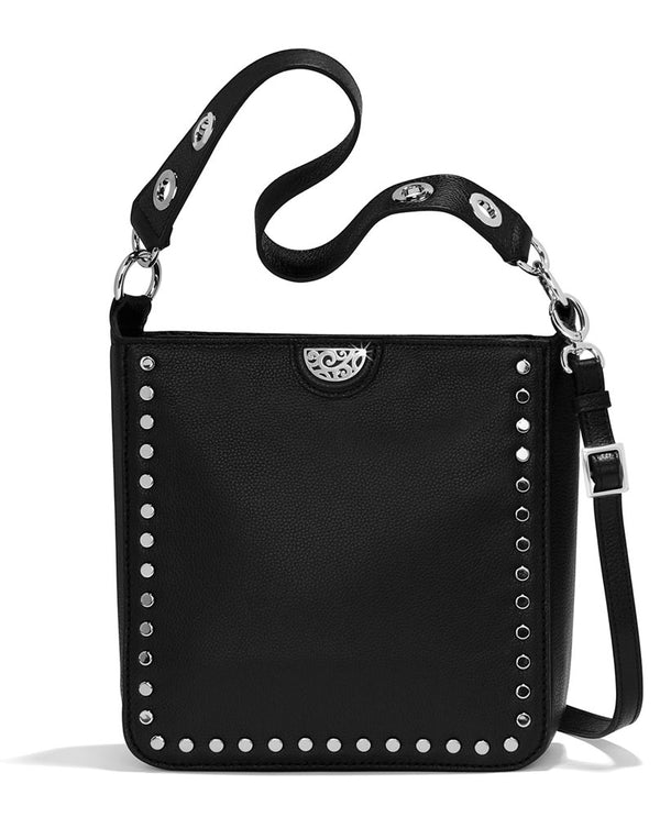Brighton H36373 Raine Convertible Shoulderbag in Black with removable dual straps for versatility and studs around the front.