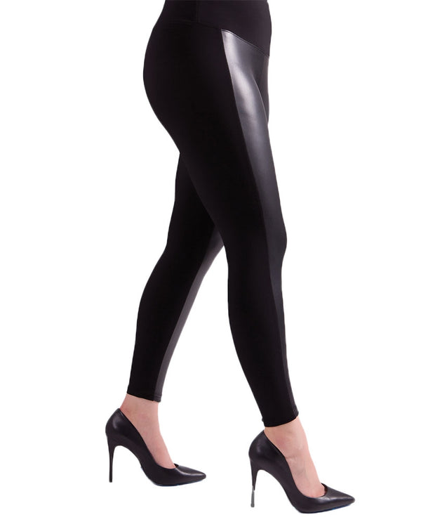 Sympli 27168 Frame Leggings with wide vegan leather stripe down the front of each leg