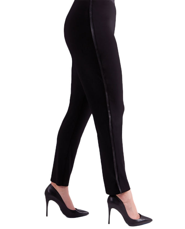 Sympli 27167 Frame Narrow Pants in black elastic waist with vegan leather pinstripe on the side