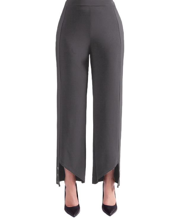 Sympli 27169 Charm Angle Pants in stone have an angled cutout on the ankles and elastic waistband