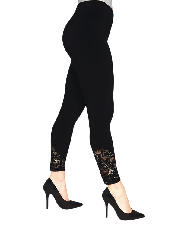 Black Sympli 3714 Lace Leggings made with wrinkle resistant jersey fabric and have lace bottoms