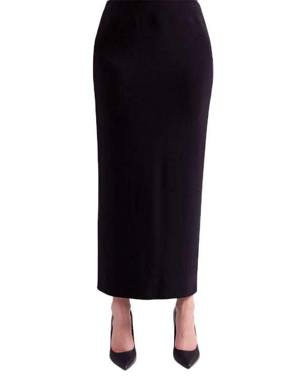 Sympli 2674 Nu Maxi Skirt in black is made of a soft stretch matte jersey
