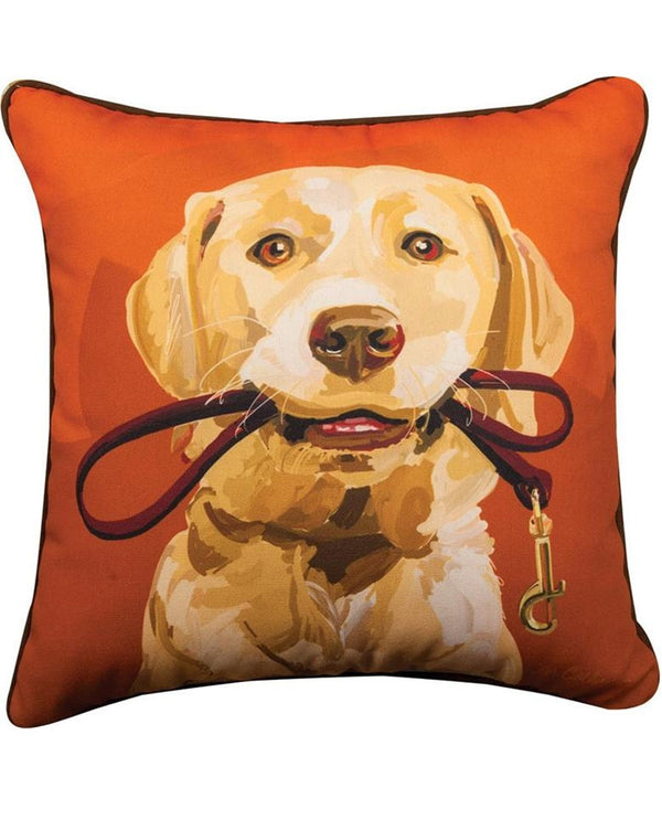Manual Woodworkers & Weavers Goldie Yellow Lab Pillow