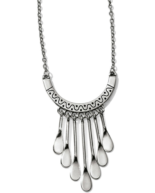 Silver Brighton JL8420 Marrakesh Oasis Necklace with waterfall drops hanging from u shaped bar