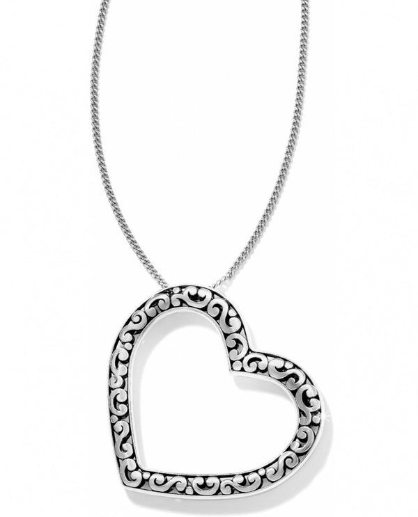 Silver Brighton JL4830 Contempo Love Long Necklace has an angled Contempo motif heart hanging