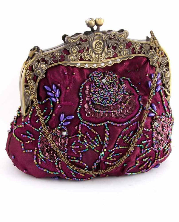 Red Victorian Style Evening Bag with floral hand beading and detachable gold strap