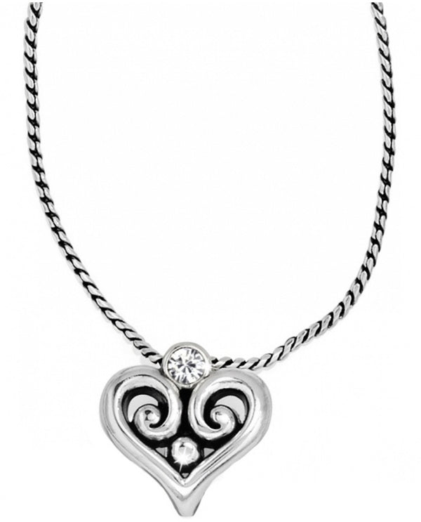 Brighton JN9732 Alcazar Heart Badge Clip Necklace with Swarovski crystals