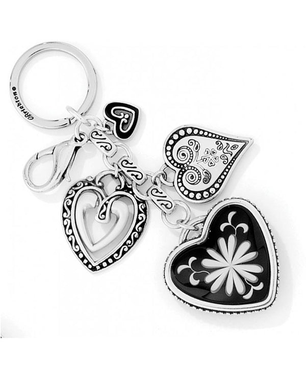 Silver Brighton E11500 Water Lily Handbag Charm with multiple heart charms for your bag or keys