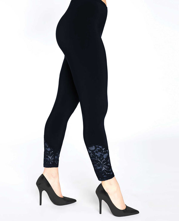 Navy Sympli 3714 Lace Leggings made with wrinkle resistant jersey fabric and have lace bottoms