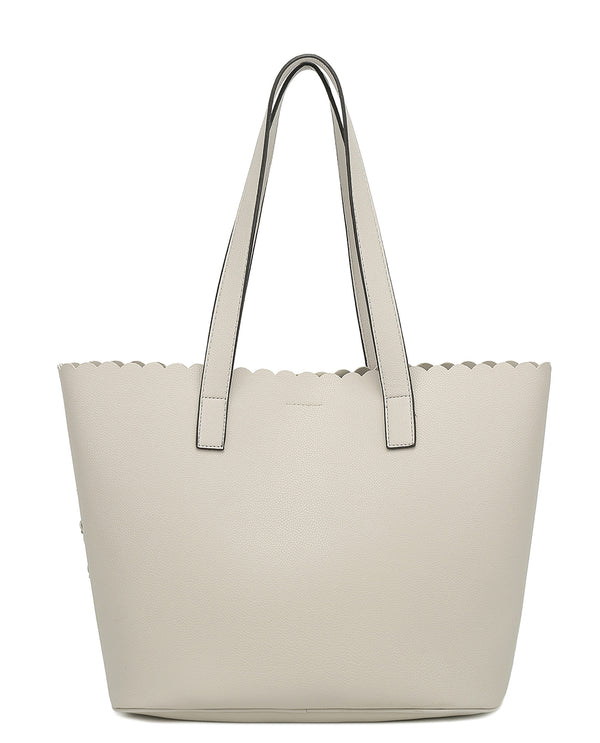 3D Flower 2 Piece Tote Beige Back