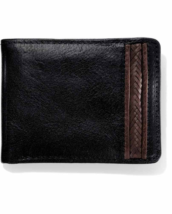 Brighton 89650 Pinon Hills Inlay Lacing Passcase black leather wallet for men