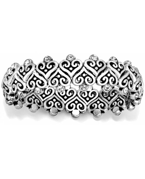 Brighton JB5012 Alcazar Heart Stretch Bracelet silver heart bracelet with Swarovski