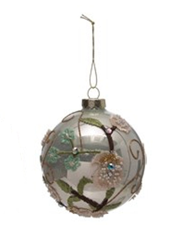 3D Ball Ornament with Flower and Beads IRIDESCENT