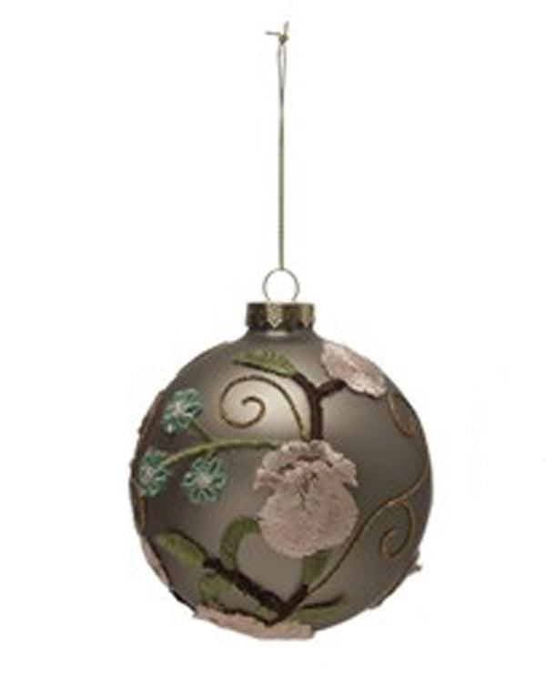 3D Ball Ornament with Flower and Beads MOCHA