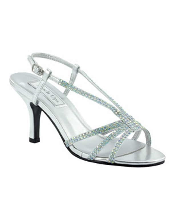 Touch Ups Lyric Heel sparkling silver T-strap sandals with heels