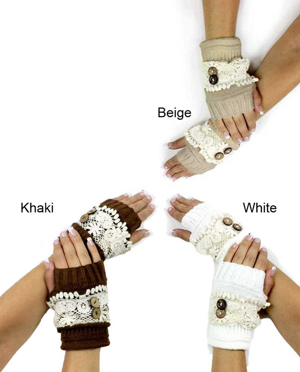 Lace Trim Fingerless Glove keeps your hands warm with a rustic touch