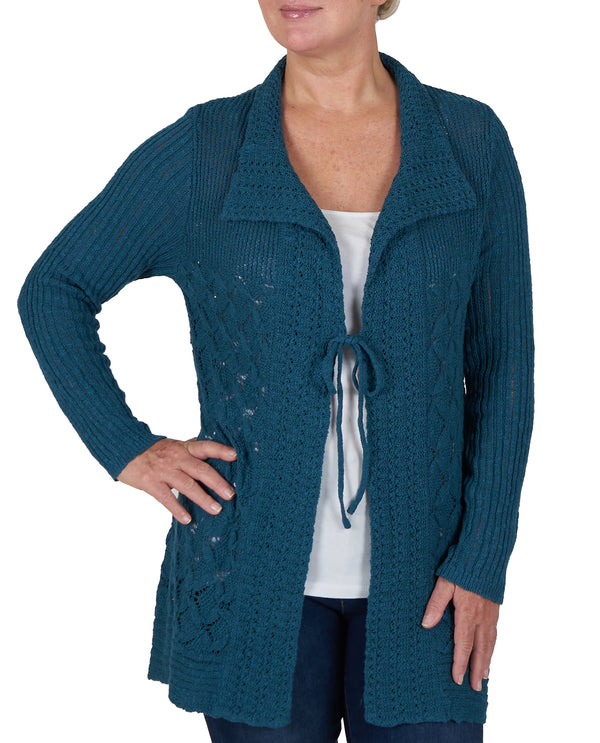 Open Stitch Cardigan  Dark Teal
