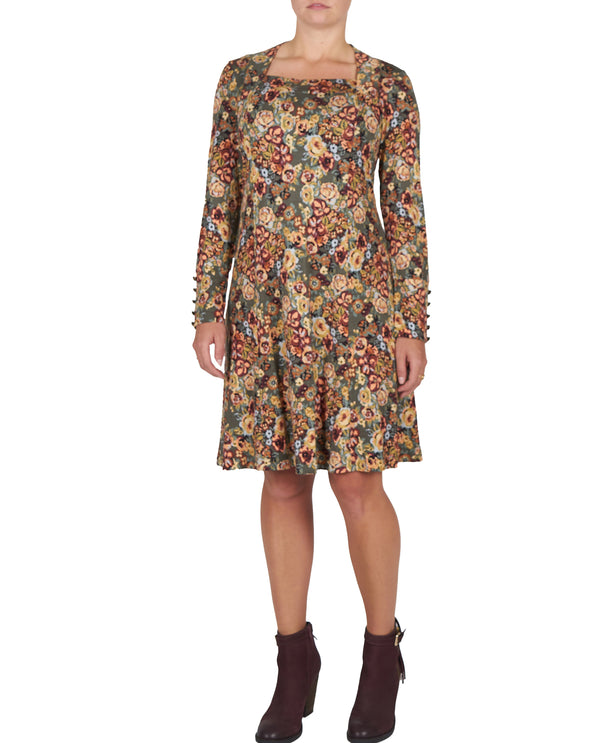 Square Neck Basil Print Dress Petite