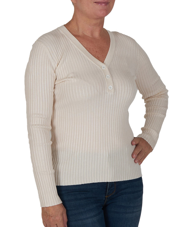 Ribbed Long Sleeve Sweater Cream