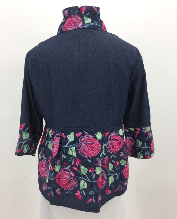 Damee 4521 Floral Embroidered Peplum Back View