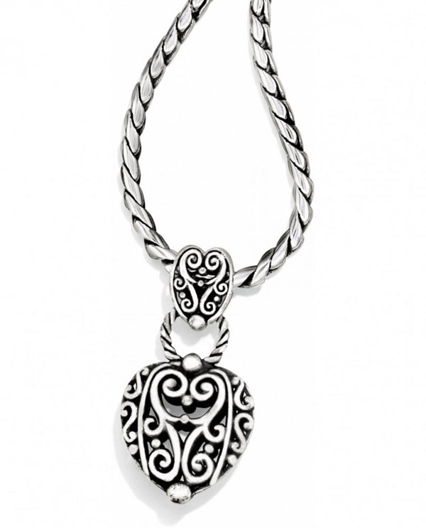 Silver Brighton J44500 Bibi Heart Necklace has a romantic heart pendant hanging from a rope chain